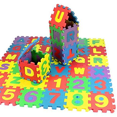 36 Stück 12 x 12 cm Alphabet-Buchstaben Puzzles Eva-Schaum Matten Mathematik Zahlen Zählen Lernspielzeug Bodenfliesen Camping Decke für Kinder Baby Fliegender IQ Gehirn Teaser