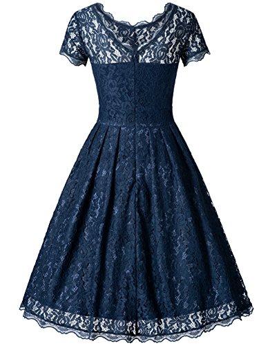 Zarlena Damen Kleid Spitzenkleid Cocktailkleid Abendkleid Vintage Blau