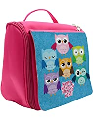 040db68c1485 Personalised Cute Owls St452 Pink Hanging Wash Bag   Toiletry Travel   Make  Up Cosmetic Shower