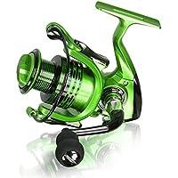 Leggero Smooth Bobine di Filatura di Pesca con 5.5: 1 Gear Ratio Metallo Pieghevole Corpo Mano LE13 + 1BB per Pesca in Mare D'acqua Dolce (Green, XF3000)