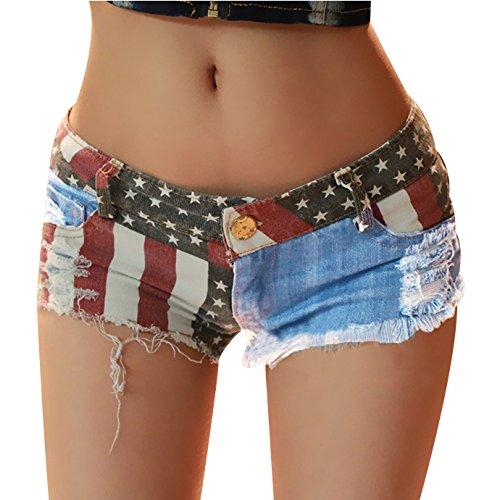 Andy's Share, Hot Damen Mini Jeans Shorts Pants, Denim Low Waist (M)