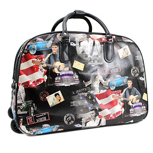 YDezire®, borsone da viaggio da donna con le rotelle, portabile a mano Black/Elvis