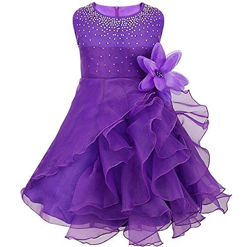 Tiaobug Baby Mädchen Kleid Prinzessin Hochzeit Taufkleid Blumenmädchen Festlich Kleid Kleinkind Festzug Kleidung Lila 98 (Herstellergröße: 90)
