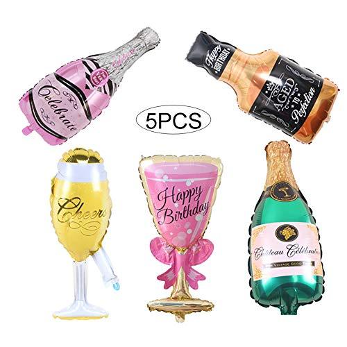 Newin Star 5 x Champagnerballons aus Folie, Riesenweinflasche, Gläser aufblasbar, Heliumballons für Geburtstag, Party, Dekoration für Kinder, Geschenk