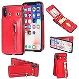 Shinyzone iPhone X Leder Brieftasche Zurück Hülle mit Kredit Kartenhalter,iPhone X Taste Schnalle Reißverschluss Tasche Ständer Handyhülle für iPhone X 5.8 zoll,Rot