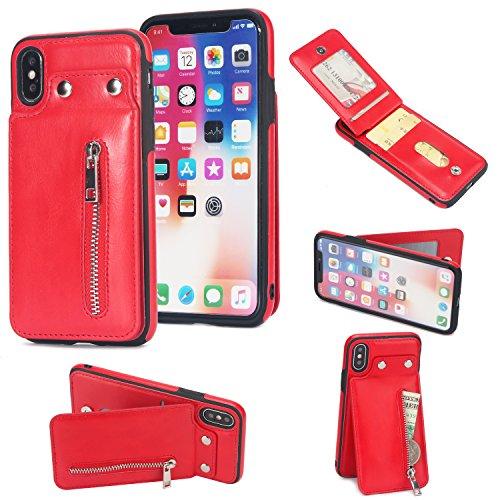 Shinyzone iPhone X Leder Brieftasche Zurück Hülle mit Kredit Kartenhalter,iPhone X Taste Schnalle Reißverschluss Tasche Ständer Handyhülle für iPhone X 5.8 zoll,Rot (Abnehmbare Rot Schnalle)