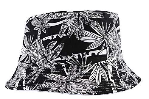 ZLYC Sombrero de Pescador de Verano con Estampado de Moda para Mujeres, Hombres, Adolescentes - Negro - Talla única