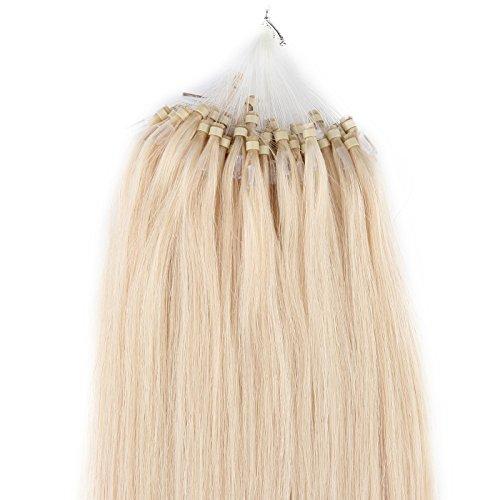 Beauty7-100 STK 50cm Echthaarsträhnen Remy Echthaar Haarverlängerung Loop Micro Ring Microring Haare 50cm 0,5g Echthaar Extensions Straehnen 20 Zoll Lichtblond #613