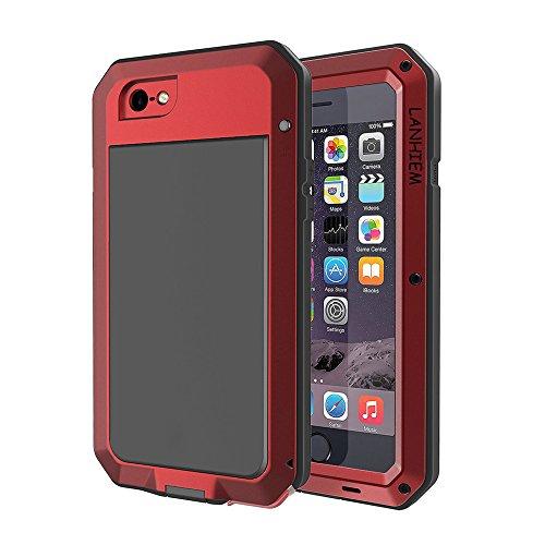 iPhone 5S Hülle, iPhone SE Hülle, Lanhiem [Tough Armor] [Stoßfest] Outdoor Schutzhülle mit Eingebautem Displayschutz Metall Schutz Wasserdichtes IP44 Handyhülle für Apple iPhone 5 / 5S / SE - Rot
