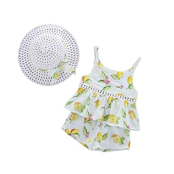 Trisee Ropa de bebé Trajes de Verano para niñas 2PC / Set Tops sin Mangas y Pantalones Cortos Ropa Casual para niñas… 1