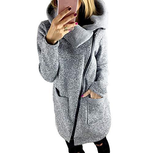 BAINASIQI Frauen Winter Warm Casual Hoodies Lange Reißverschluss Kapuzenpullover Jacke Mäntel (L, Grau)