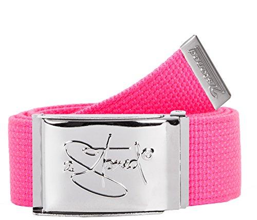 2Stoned Gürtel Canvas Belt Neon-Pink, Chromschnalle Classic, 4 cm breit, Stoffgürtel für Damen