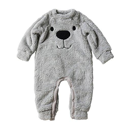 Baywell Baby Kleinkind Flanell Spielanzug Outfits, Winter Cute Cartoon Bär Tops und Onesies Overall (6-12 Monate, Spielanzug-Grau) - Overall Monate 9