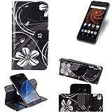 K-S-Trade Schutzhülle für Allview X4 Soul Mini S Hülle 360° Wallet Case Schutz Hülle ''Flowers'' Smartphone Flip Cover Flipstyle Tasche Handyhülle schwarz-weiß 1x