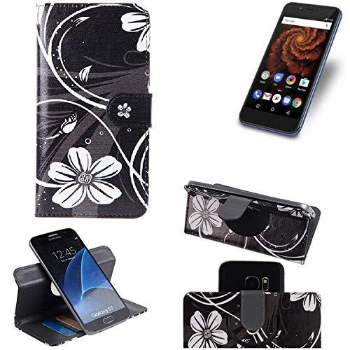 K-S-Trade Schutzhülle Allview X4 Soul Mini S Hülle 360° Wallet Case Schutz Hülle ''Flowers'' Smartphone Flip Cover Flipstyle Tasche Handyhülle schwarz-weiß 1x