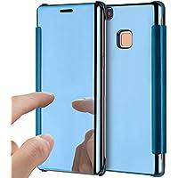 Funda para Huawei P9 Lite, funda para Huawei P9 Lite, ikasus ultrafina, de lujo, híbrida, absorción de golpes, transparente, con tapa, galvanizado, cubierta para espejo, tapa protectora para Huawei P9 Lite