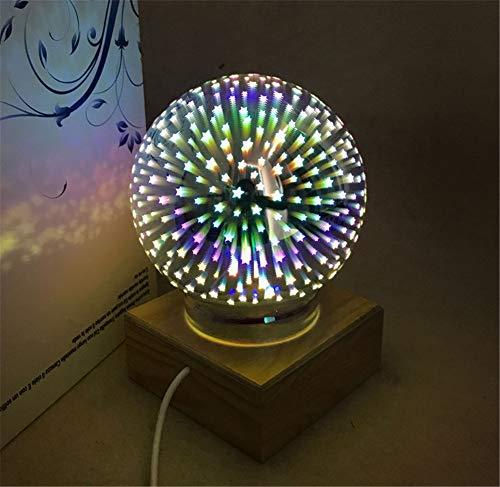 USB wiederaufladbare farbenfrohe Sphäre Lampe Globe 3D Magic Night Light Crystal Ball Geschenk,Star (Crystal Light Globe)