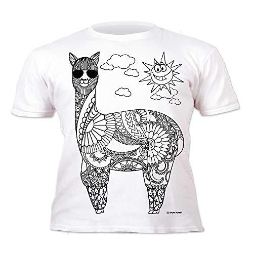Kinder T-Shirt Cooles LAMA. Zum Bemalen und Ausmalen mit Vordruck. Mitgeliefert 6 auswaschbare Magic - Malstifte. Kindergeburtstag 7-8 Jahre