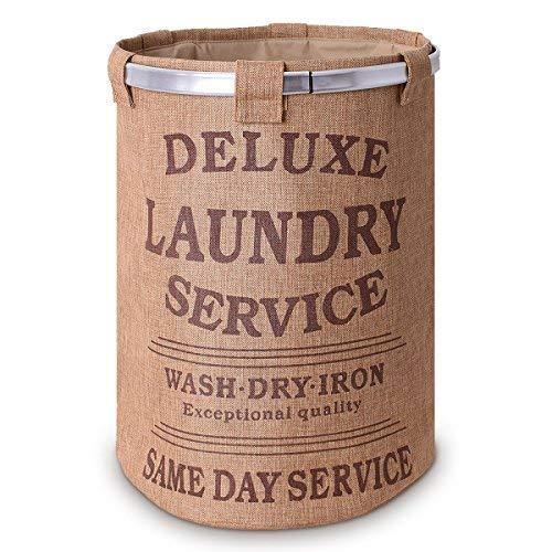 teprovo Wäschekorb Wäschesammler Laundry Basket Schmutzwäsche Korb 60 L Kleideraufbewahrung Leinenoptik Deckel Kordelzug beige -