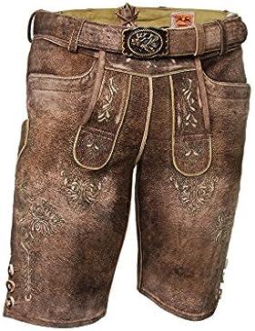 Kurze Lederhose, Ziegenleder, Trachtenlederhose mit Gürtel, braun, tabak