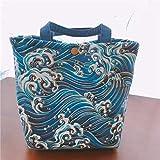 Isolierte Lunchtasche im japanischen Stil, faltbar, Handtasche