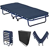 Gästebett klappbar stabiler Metall-Rahmen + Matratze + Holz-Lattenrost Metall-Bett mit Rollen Klapp-Bett inkl. passende Schutzhülle, Modell:Smart