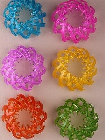 Décoration en plastique aux couleurs vives à chignon/extensible queue de cheval holder. en rose/violet/bleu/jaune/GRE...