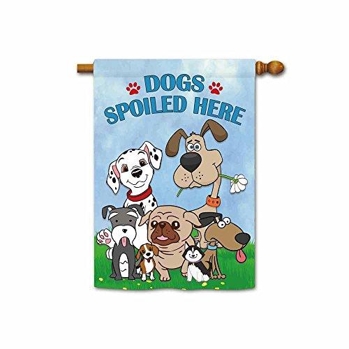 Kafepross Süße Hunde Spoiled Here Spring Garden Flagge Funny Puppy Home Decor Banner, Polyester, 4, Large House flag-28x40 inch