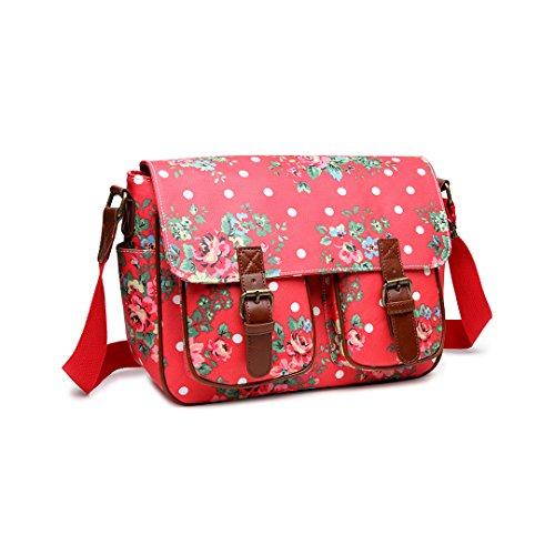 Miss Lulu-Tela cerata con motivo floreale e a pois, in tela a tracolla, per scuola, borsa a mano, Cartella Rosa (Plum Oilcloth)