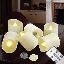 Flameless lampeggiante Candele e candele votive Led Tealights con telecomando Timer batteria operata candele Candele elettriche inclinate per Wedding - 6 Pezzi
