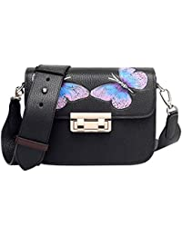 Pijushi Designer Butterfly Purses Floral Leather Tote Cross Body Handbags 8001 (Model 8001, Black)