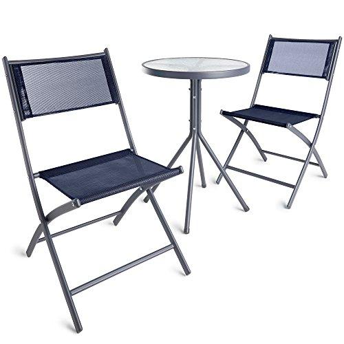 VonHaus Garden Table & Chair Bistro Set - 3 Piece Textoline Outdoor Furniture Set with Hardwearing Woven Fabric for Patio/Balcony/Decking - Blue