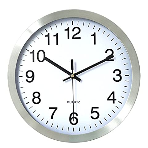 HITO™ 12 Inches Silent Non-ticking Wall Clock w/ Metal Frame, Acrylic Cover (Silver-Arabic)