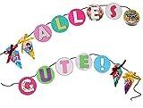 Unbekannt 3 m Girlande für den Schulanfang - Disney Prinzessin -  Alles Gute zum Schulanfang  - für Kinder Party Schuleinführung Einschulung Schule Schulbeginn Fest D..