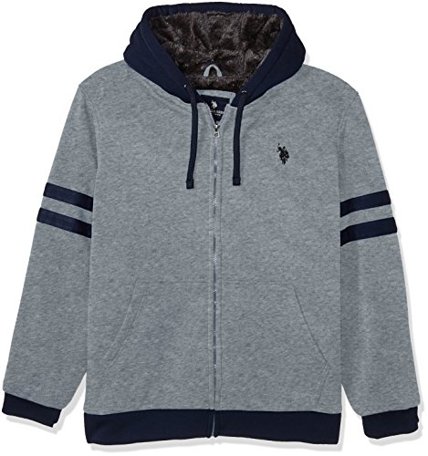 U.S. Polo Assn. Men's Standard Fashion Sherpa Lined Fleece Hoodie, Heather Grey 5523, 3X Sherpa-lined Hoodie