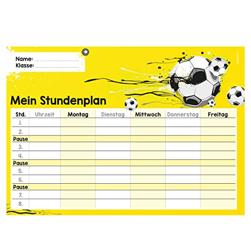 younikat Fußball Stundenplan abwischbar I DIN A4 I Rückseite selbstklebend I Jungen Jungs Teenager, cool I mit Stift I Geschenk-Idee I dv_646