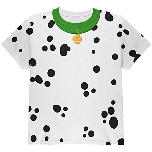 St Patricks Tag Hund Dalmatiner Kostüm grüner Kragen Shamrock auf der ganzen Jugend T Shirt Multi (Tag St Shirt Patricks T)