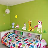 ufengke Comic-Tiere Elefant Giraffe Einhorn Wandsticker,Kinderzimmer Babyzimmer Entfernbare Wandtattoos Wandbilder