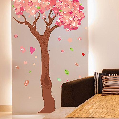 3D Wandtattoo Wandtattoo Schlafzimmer Wandstickerromantischer Hochzeitsraum Des Schlafzimmers Verzierte Karikaturkirschbaumaufkleber, Kirschbaum (Ein Stück), Besonders