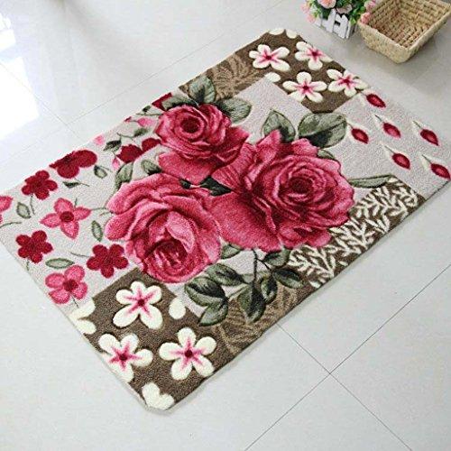 ZY HOME Ländliche Wind Stereo Schnitt Blumen Rosen Boden Matte Tür Matte absorbierende Matte-home Wohnzimmer Schlafzimmer Teppichboden Matten, B