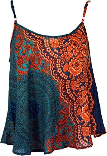 Trägertop, Sommertop, Damentop, Strandtop / Tops, T-Shirts, Shirts türkis/orange