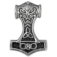 Thorhammer Kettenanhänger beidseitig gearbeitet  Material: Edelstahl  Größe: 30mm Lang  Ösendurchmesser innen: 5,5mm  Lieferung erfolgt im stabilen Etui.
