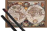 1art1® Póster + Soporte: Mapas Históricos Póster (91x61 cm) Mapa del Mundo del Siglo 17 Y 1 Lote De 2 Varillas Negras