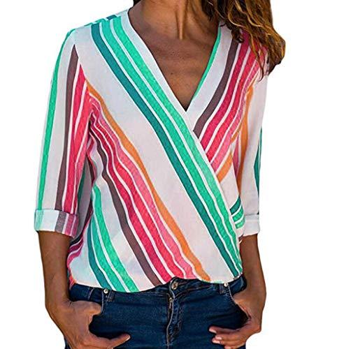 SEWORLD Damen Freizeit Oberteile Bluse Herbst Einzigartig Frauen Strand Damenmode Lässige Langarm Mehrfarbige Gestreifte Unregelmäßige Bluse Tops T-Shirt(Mehrfarbig2,EU-36/CN-M)