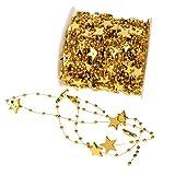 Sharplace 30m Stern Perlengirlanden Perlengirlande Dekoschnur Perlenkette - Gold, 30m