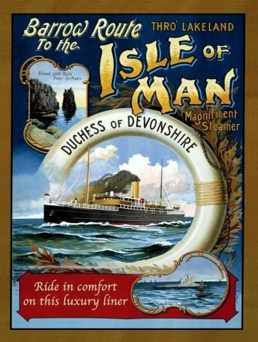 Isle of Man Steam Ferry. Duchess of Devonshire, Old retro advert, painted boat crossing. Life ring. For house, home, bar, pub, kitchen or bathroom. Large Metal/Steel Wall Sign by RKO