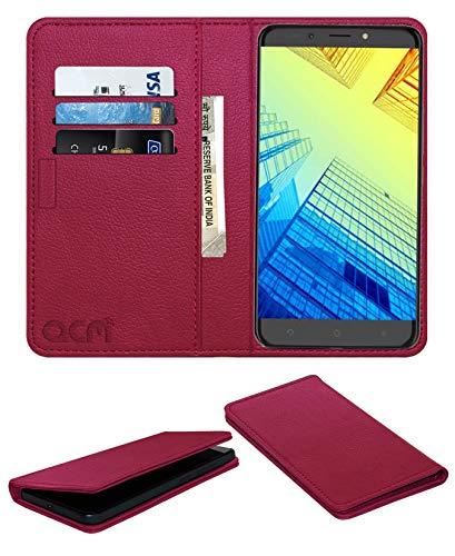 Acm Rich Leather Flip Wallet Front & Back Case for Alcatel A7 XL Mobile Flap Magnetic Cover Pink