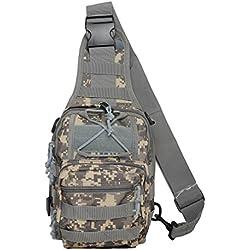 Táctica bandolera Cruz cuerpo pecho paquete de hombro mochila Militar EDC Molle paquetes de pesca con mosca para iPad nailon al aire libre Camping senderismo mochila de viaje de senderismo, delete