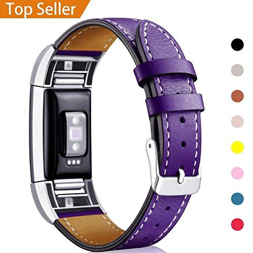 "Mornex Für Fitbit Charge 2 Armband, echtes Leder-Armbänder, Unisex-Ersatzband mit Metall Konnektoren(5,5\""-8,1\"") Pflaume"