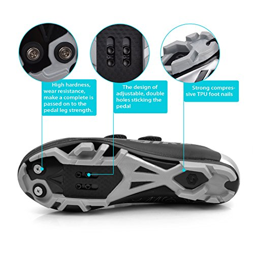 Unisexe respirant chaussures de vélo professionnels pour route et VTT SD-002 Argent / Noir pour le VTT
